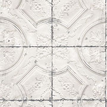 Picture of Susanna Off-White Vintage Tin Tile Wallpaper