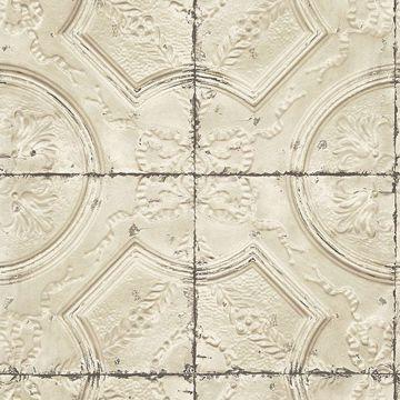 Picture of Susanna Beige Vintage Tin Tile Wallpaper
