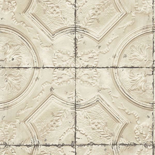 Picture of Susanna Beige Vintage Tin Tile Wallpaper