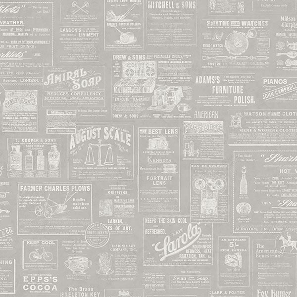 Picture of Adamstown Grey Newspaper Wallpaper