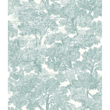 Picture of Spinney Teal Toile Wallpaper