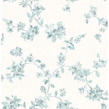 Picture of Cyrus Teal Festive Floral Wallpaper