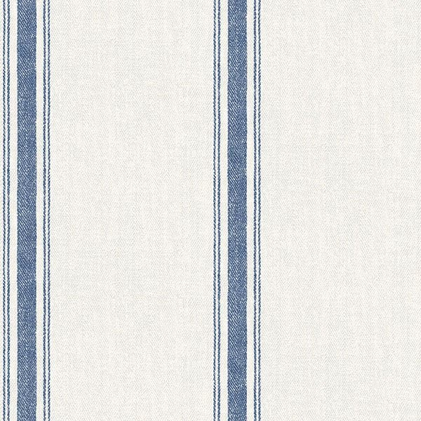 Picture of Linette Blue Fabric Stripe Wallpaper