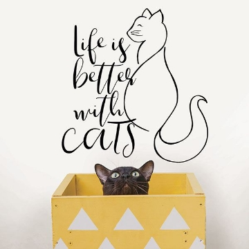 Picture of Better With Cats  Wall Quote Decals