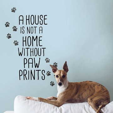 Picture of Home With Paw Prints Wall Quote Decals