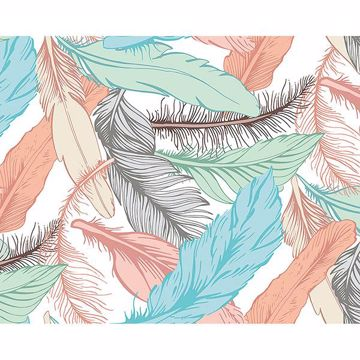 Picture of Pastel Feathers Wall Mural
