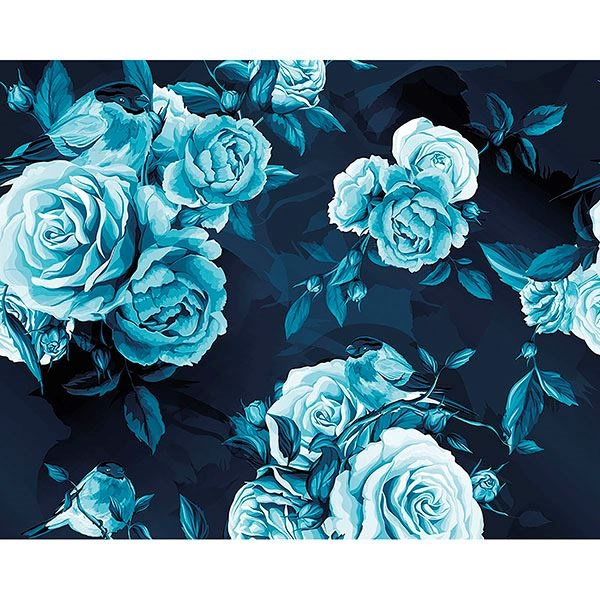 Picture of Blue Roses Wall Mural