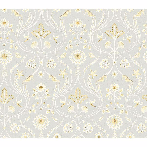 Picture of Anacapa Taupe Damask Wallpaper