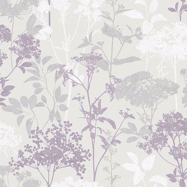 2766 42034 Brassia Lavender Silhouette Floral Wallpaper By Brewster