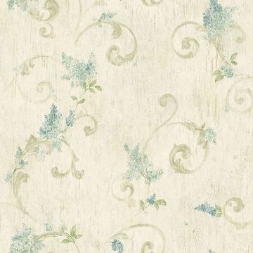 Picture of Celandine Beige Floral Scroll Wallpaper