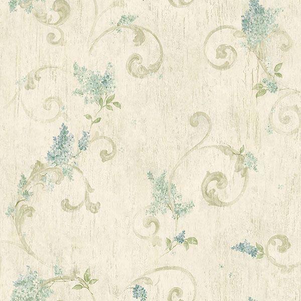 Picture of Celandine Beige Floral Scroll Wallpaper