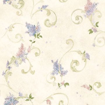 Picture of Celandine Cream Floral Scroll Wallpaper