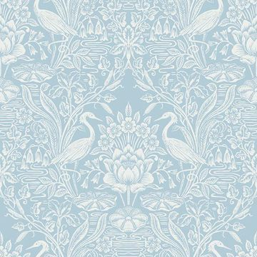Picture of Elegans Light Blue Crane Toile Wallpaper