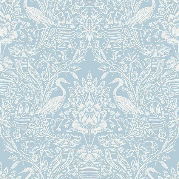 Picture of Elegans Light Blue Crane Toile Wallpaper