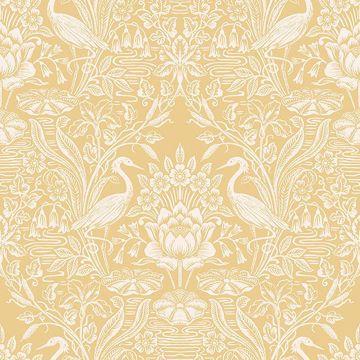 Picture of Elegans Mustard Crane Toile Wallpaper