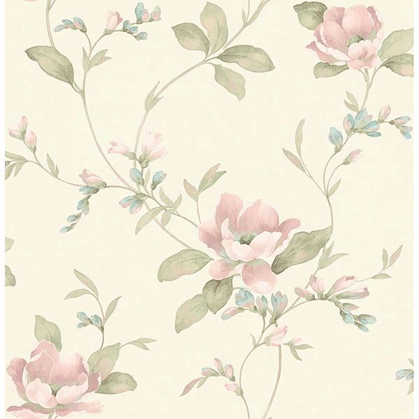 Picture of Glenville Cream Floral Scroll Wallpaper