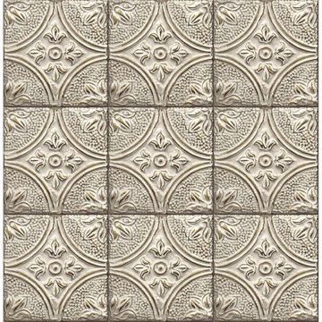 Picture of Houston Cream Tin Tile Wallpaper