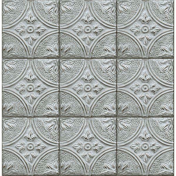 Picture of Houston Light Blue Tin Tile Wallpaper