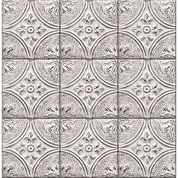 Picture of Houston White Tin Tile Wallpaper