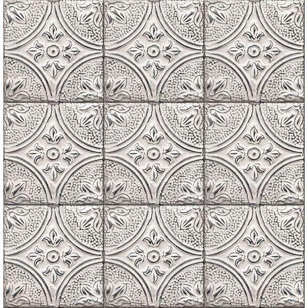 Picture of Houston White Tin Tile Wallpaper