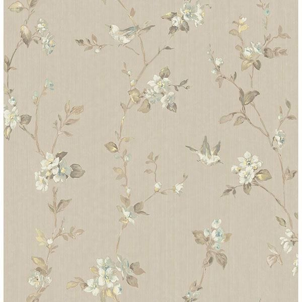Picture of Jacqueline Taupe Floral Scroll Wallpaper