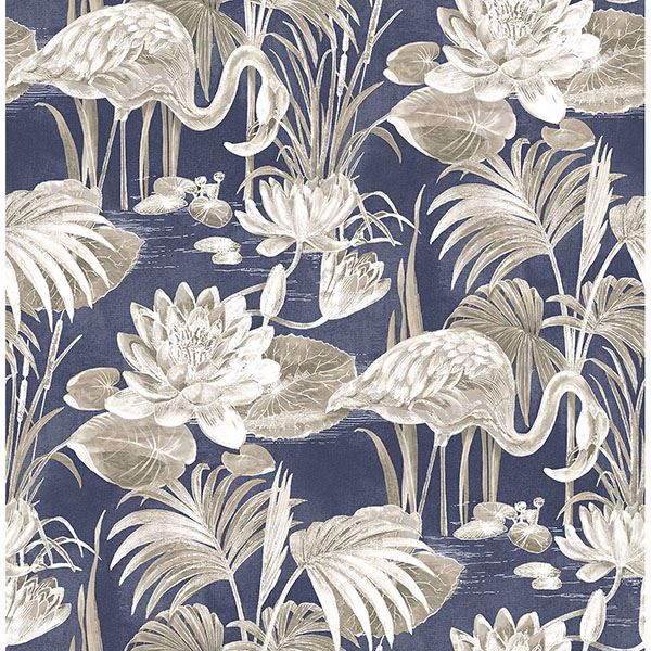 Picture of Miltonia Navy Flamingo Wallpaper