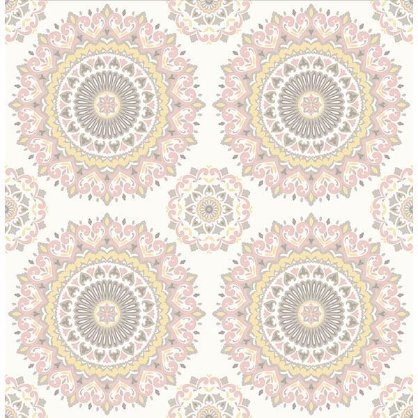 Picture of Priya Blush Medallion Wallpaper