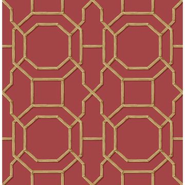 Picture of Rumi Red Trellis Wallpaper