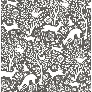 Picture of Seeger Charcoal Meadow Wallpaper
