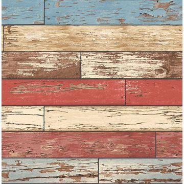 Picture of Siesta Key Red Scrap Wood Wallpaper