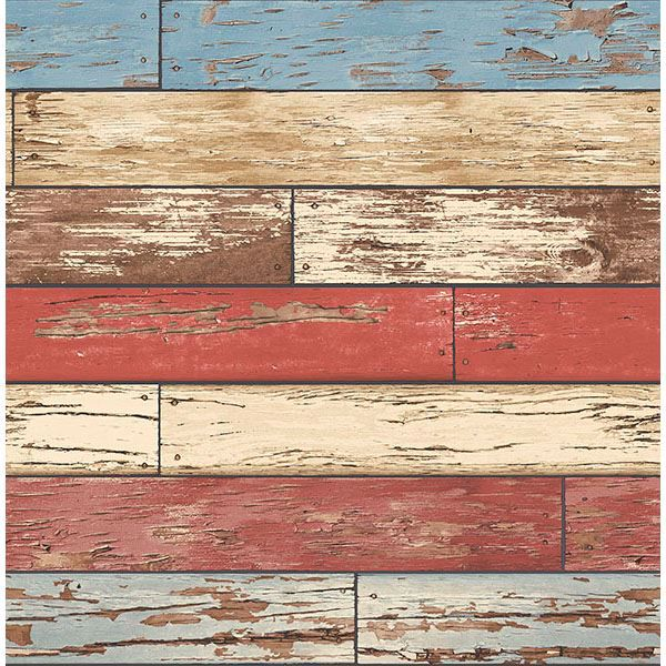 Picture of Siesta Key Red Scrap Wood Wallpaper