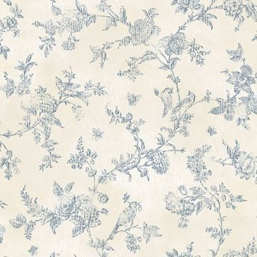 Picture of Singapore Navy Toile Wallpaper