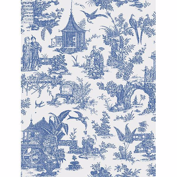 Picture of Ume Blue Toile Wallpaper
