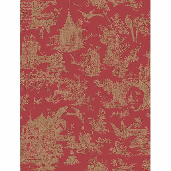 Picture of Ume Red Toile Wallpaper