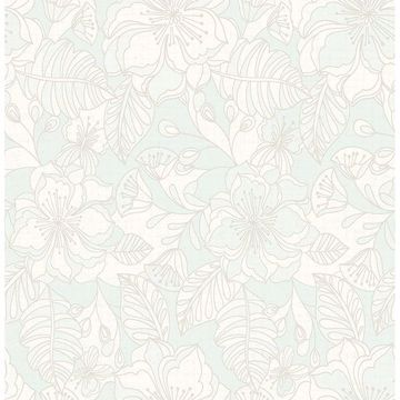 Picture of Vera Light Blue Flowers Wallpaper