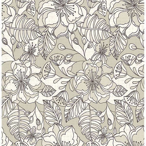 Picture of Vera Taupe Flowers Wallpaper