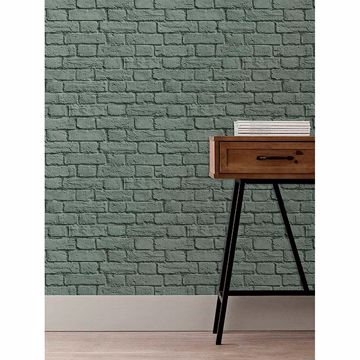 Picture of Cologne Green Painted Brick Wallpaper