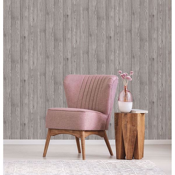 Picture of Mammoth Light Grey Lumber Wood Wallpaper