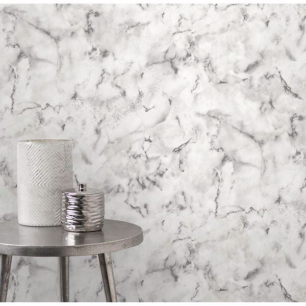 Picture of Notting Hill Light Grey Marble Wallpaper
