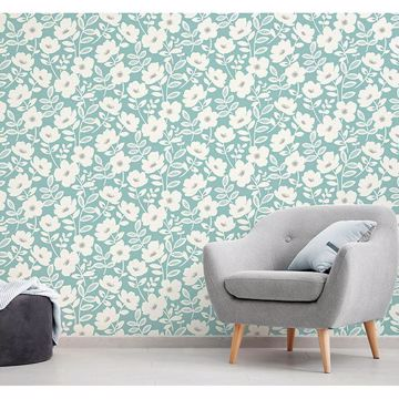 Picture of Bergman Teal Scandi Flower Wallpaper