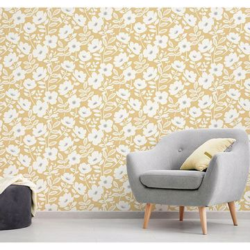 Picture of Bergman Mustard Scandi Flower Wallpaper