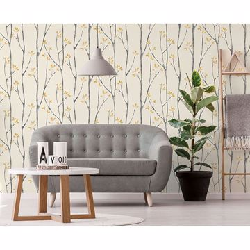 Picture of Ingrid Mustard Scandi Tree Wallpaper