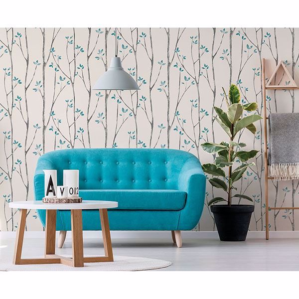 Picture of Ingrid Blue Scandi Tree Wallpaper