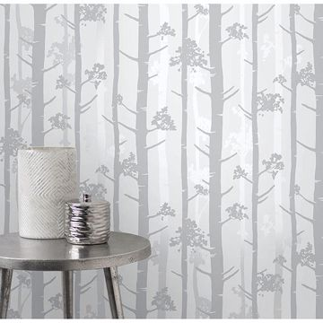 Picture of Sydow Grey Birch Tree Wallpaper