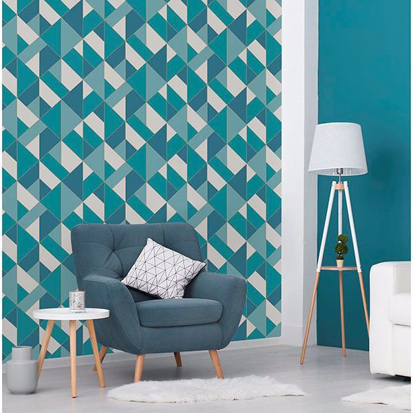 Picture of Delano Blue Structured Geo Wallpaper