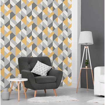 Picture of Delano Yellow Structured Geo Wallpaper