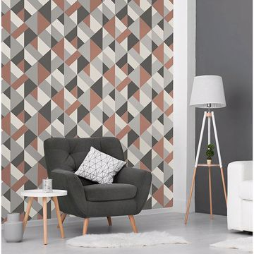 Picture of Delano Copper Structured Geo Wallpaper