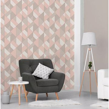 Picture of Delano Rose Structured Geo Wallpaper