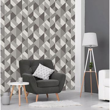Picture of Delano Grey Structured Geo Wallpaper