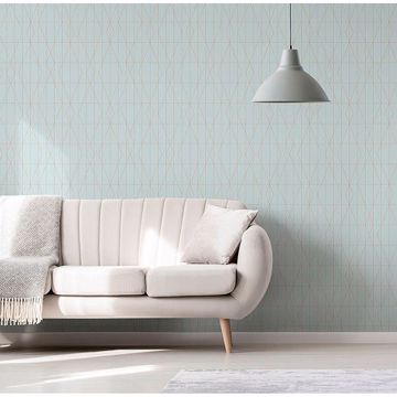 Picture of LeVeque Light Blue Deco Diamond Geo Wallpaper